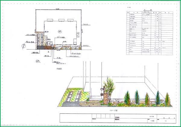 造園設計例 一般家庭の庭